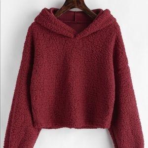 Red Sherpa fluffy cropped sweatshirt hoodie